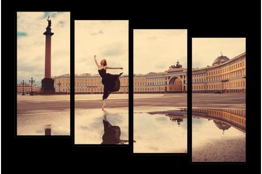 Модульная картина Балерина на Дворцовой площади
